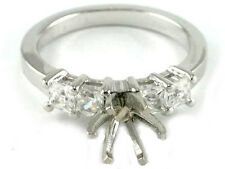 14K WHITE GOLD PRINCESS CUT DIAMOND ENGAGEMENT RING SOLITAIRE SETTING