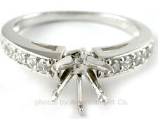 18K WHITE GOLD PAVE DIAMOND ENGAGEMENT RING SOLITAIRE SETTING