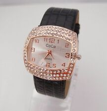 Ladies Womens Fun Fashion Watch Leather Band and Crystals