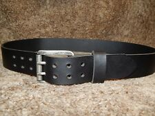 Quality 9 oz buffalo leather belt with a massive 2 prong (pin) antique buckle!