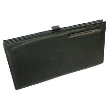 New Kenneth Cole New York BLACK GUNMETAL Leather FRENCH Frame Clutch WALLET $88