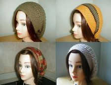 OLIVE Green RUST Ivory GOLD Handmade Crochet SLOUCHY Beret Tam HATs Knit UNISEX