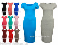 Womens Plain Jersey Stretch Bodycon Cap Sleeve Ladies Midi Dress Plus Size 8-22