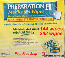 Preparation H Medicated Wipes Aloe Hemorrhiodal Witch Hazel Maximum Strength