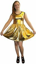 METALLIC SHINY PVC GOLDEN GREASE WETLOOK ROCKABILLY SWING SLEEVELESS DRESS RAVE