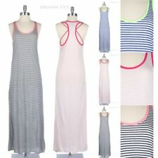 Striped Racerback with Detail Tank Maxi Sun Dress Full Length Long Casual Comfy