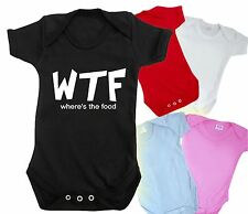 WTF WHERES THE FOOD BABY GROW FUNNY BODYSUIT HIPSTER CARA DELEVINGE SWAG T SHIRT