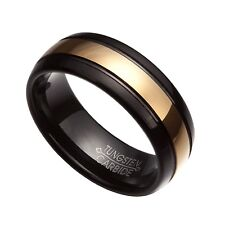 Black & Gold Tungsten Carbide 8mm Comfort Fit Wedding Band Rings Size 7-14 TG48