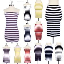 Convertible All Over Striped Strapless Tube Mini Dress/Skirt Casual Cute Cotton