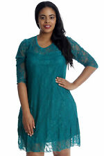 New Womens Sexy Lace Lined Evening Dress 3/4 Lace Arms Nouvelle Plus Size