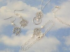 Zen Lotus Flower & Pearl Sterling Silver Necklace, Bracelet, Earring Set- bridal