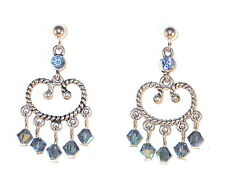 SWAROVSKI CRYSTAL ELEMENTS Silver Chandelier Earrings LT SAPPHIRE & DENIM BLUE