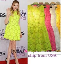 NEW Fluorescent Green Semi-Sheer Yellow White Big Daisy Sunflower Dress S M L