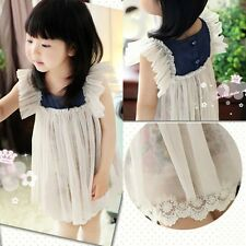 New Toddlers Girls Faux 2 Pcs Floral Cotton Lined And Tulle Dress  3-8 Y D203