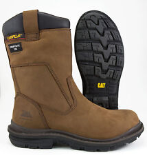 "Caterpillar Olton Mens WP CT 10"" Pull On Work Boot / Dark Brown / STYLE# P90170"