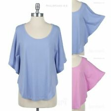 Plain Scoop Neck Poncho Style Loose Fit Cotton Top Casual Comfortable Easy Wear