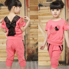 4-16Year Kids Girls Lace Butterfly 2-Pieces Outfit Clothes Sets Tracksuit TYB6