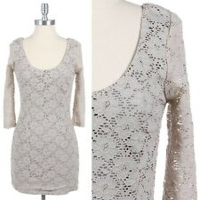 All Over Floral Lace 3/4 Sleeve Cocktail Dress with Lining Scoop Neck Cute Span