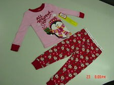 NWT Toddler Girls 2 piece Pajamas Christmas Holiday Glitter Penguins Red Pink