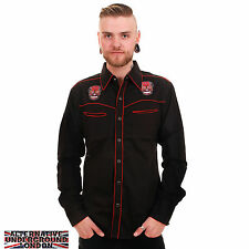 NEW MENS WESTERN ROCKABILLY SHIRT EMBROIDERED MEXICAN SUGAR SKULL TATTOO DEAD