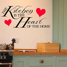 THE KITCHEN IS THE HEART OF THE HOME QUOTE VINYL WALL ART STICKER ROOM DECAL