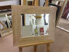 """NEW LARGE 4"""" FLAT LIMED SOLID OAK WALL AND OVERMANTLE MIRRORS-VARIOUS SIZES"""