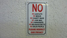No Leaflets/Menus/Charity Bags/Junk Mail/Canvassers/Sales People Black/Red Sign