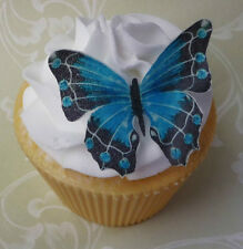 edible blue/green wafer butterfly cupcake cake toppers 18th 21st 60th birthday
