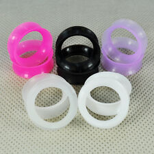 ~ 5 Pairs ~  Thin Silicone Flexible EarSkin Flesh Tunnels Plugs Gauges Earlets