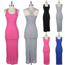3 Straps Cross Back Ribbed Fitted Long Maxi Sundress Round Neck Casual Cotton