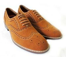 NEW  MENS LACE UP WING TIP OXFORDS FAUX SUEDE LEATHER LINED DRESS SHOES/ COGNAC