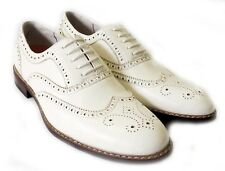 NEW FASHION  MENS LACE UP WING TIP OXFORDS  LEATHER LINED DRESS SHOES / WHITE
