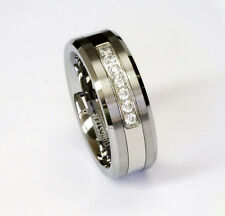 8Mm White Cz 7 Stones Tungsten Carbide Ring Men Jewelry Wedding Band All Size