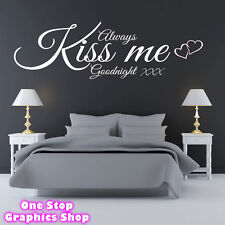 ALWAYS KISS ME GOODNIGHT 3 WALL ART QUOTE STICKER 60CM - BEDROOM LOUNGE LOVE