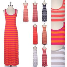 Striped Sleeveless Long Tank Maxi Dress Scoop Neck Racerback Full Length Span