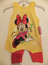 NEW DISNEY MINNIE LARGE EMBOSSED PRINT COTTON JERSEY DRESS & LEGGINGS OUTFIT SET