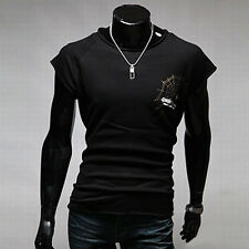 Unique New Men Spider Print Cropped Loose Short Sleeve T-Shirt Casual tops Tee