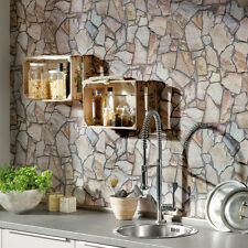 Stunning 'Stone Mosaic' wall Brick Effect Wallpaper, Yellow, Beige & Grey Tones