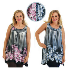 Womens Top Plus Size Ladies Floral Print Asymmetric Tunic Sleeveless Nouvelle
