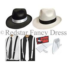 DELUXE ADULT GANGSTER 1920'S FANCY DRESS AL CAPONE TRILBY SPATS BRACES TIE PARTY