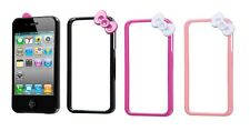 Premium Hello Kitty Bow Bowknot Skin Bumper Frame Case Cover for iPhone 4S 4 4G