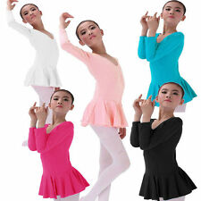Girls Gymnastics Dance Dress Kids 2-14Y Ballet Tutu Leotard Skate Skirt Pink New