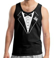 Tuxedo Tank Top Shirt Beater Funny Humor TUX Tee ALL DRESSED UP & Ready to PARTY