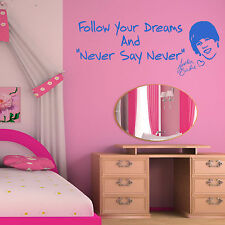 JUSTIN BEIBER Follow Your Dreams and Never Say Never VINYL WALL ART STICKER