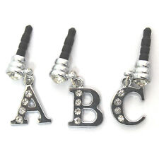 INITIAL LETTER A-Z CRYSTAL BLING 3.5mm HEADPHONE DUST PLUG FOR MOBILE PHONES