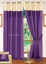 STYLISH 2 TONE RING TOP EYELET LINED CURTAIN FAUX SILK PURPLE & CREAM COLOUR