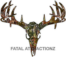 Camo S2 Deer Skull S4 Vinyl Sticker Decal Hunting Buck trophy whitetail rack
