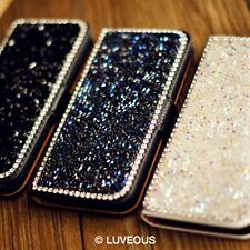 New Crystal Diamond Bling Flip Full PU Leather Cover Case For iPhone4/4S iPhone5