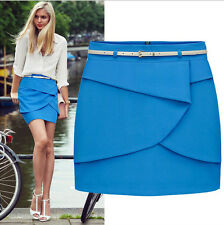 Women Tiered Overlap Mini Skirt with Belt