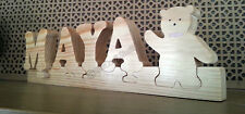 Personalised Name Plaque. Freestanding Solid Wood Letters Jigsaw Handmade